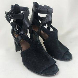 Donald J Pliner Ronnie Suede & Leather Buckle Heel